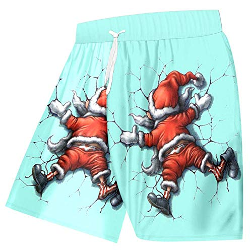 GUXCXMYBB OGKB Men's New Christmas Beach Shorts 3D Printed Funny Santa Claus Plus Size 6XL Man Summer Lovely Clothing