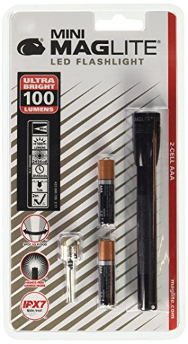 Mag-Lite LED Mini AAA Taschenlampe bis zu 84 Lumen, 12,5 cm, inkl. 2 Micro-Batterien und Taschenclip, schwarz, SP32016