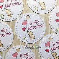 50 pezzi, Bigliettini Battesimo Stampati per bomboniera, 3 centimetri, rotondo, etichette, cartellini rosa, nascita, elefante bimba EA3