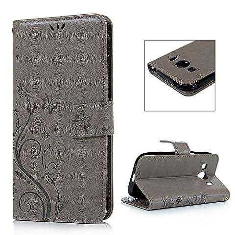 Samsung Galaxy Ace 4 SM-G357FZ Etui Cuir-Etui à Rabat Portefeuille de Carte Slots Support Case Cover Housse-ZSTVIVA [Style d