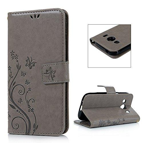 Samsung Galaxy Ace 4 SM-G357FZ Etui Cuir-Etui à Rabat Portefeuille de Carte Slots Support Case Cover Housse-ZSTVIVA [Style d'Impression] Gris