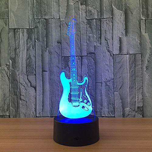 Kreatives Geschenk 3D Elektrische Musik Gitarre Illusion Lampe Led 7 Farbwechsel Gradienten Baby Kind Schlafen Nachtlicht Weihnachtsgeschenk Touch Schalter