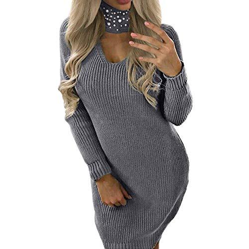 MEIbax Damen Langarm Chunky Strickkleider Roll Neck Jumper Kleid Minikleid Sweatshirt Pullover T-Shirt-Kleid Lange