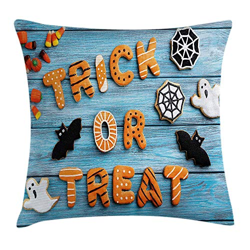 Halloween Throw Pillow Cushion Cover by, Fresh Trick or Treat Gingerbread Cookies on Blue Wooden Table Spider Web Ghost, Decorative Square Accent Pillow Case, 18 X 18 Inches, Multicolor