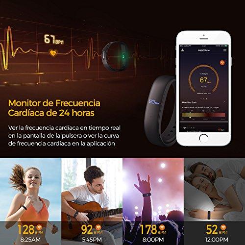 Mpow Pulsera Actividad  Fitness Tracker  Monitor de Actividad  Impermeable IP67 con Rastreador de Frecuencia Cardíaca  Pasos  Podómetro  Recordatorio Inteligente  Pulsera Inteligente con Monitor de Sueño  Alarmas Silenciosas  GPS  Cargar con Cable por Succión Magnética