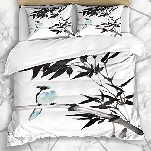 Soefipok Bettbezug-Sets Künstlerische Vogel Original Aquarell Blau Tropischen Bambus Asien Life Tree Design Tinte Mikrofaser Bettwäsche mit 2 Pillow Shams - Tinte Sham