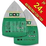 HKB ® 120 Stück Klett-Schleifblätter 105x152 mm Körnung je 24 x 40/60/80/120/180 für Multischleifer Bosch PSM 80 A, PSM 100 A, PSM 160 A, PSM 200 AGE, Prio, Ventaro, Skil Octo 7208 usw.