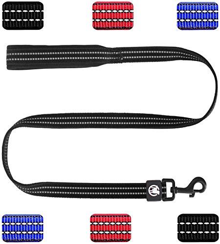 DDOXX Hundeleine Nylon reflektierend Hand-Schlaufe Neopren gepolstert 120 | viele Farben & Größen | für kleine & große Hunde | Führleine Hund Katze Welpe | Schwarz, M