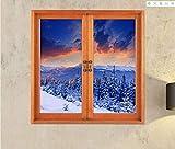 Mediterranen stil platz holzmaserung wandaufkleber schlafzimmer gefälschte fenster 3D landschaft dekoration tapete malerei schnee berg 58 cm * 65 cm