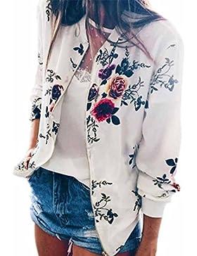 Hiroo De las mujeres Estampado floral Chaqueta Cremallera Manga larga Sobretodo Sudaderas con capucha Clásico...