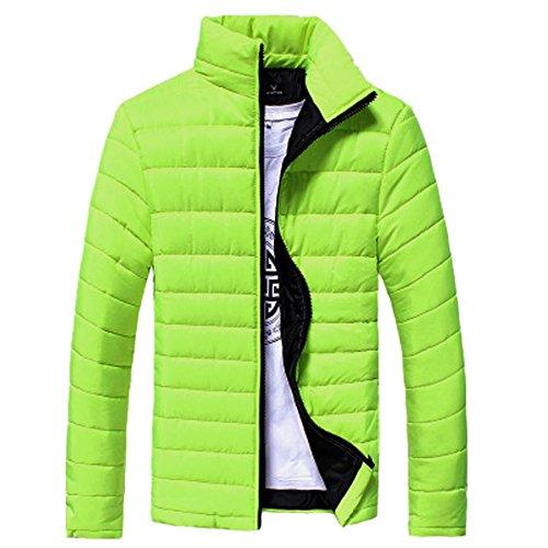 Herbst Winter Herren, DoraMe Männer Baumwolljacke Stehkragen Dicker Mantel Feste Farbe Taschenjacke Lässige Outwear (Hellgrün, L) (- Reißverschluss-leder-jacke-mantel)