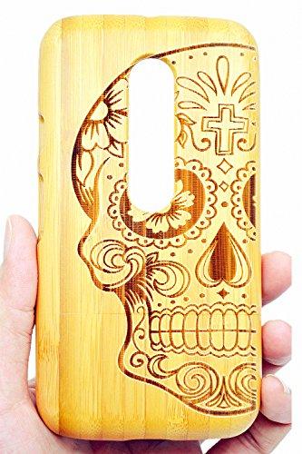 RoseFlower® Coque Motorola Moto G 3. Generation en Bois Véritable - Crâne de Bambou - Fabriqué à la Main en Bois Protecteur Coque Housse Etui Cover Case