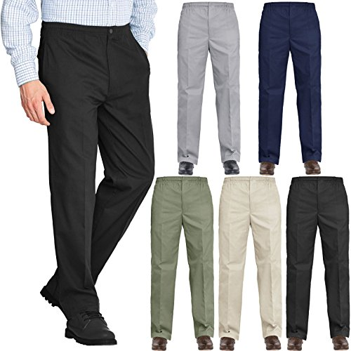 Mens Rugby Trousers Fully Elasticated Waist Formal Office Smart Casual Big Plus Size Pocket Dress Pants Straight Leg Bottoms 27