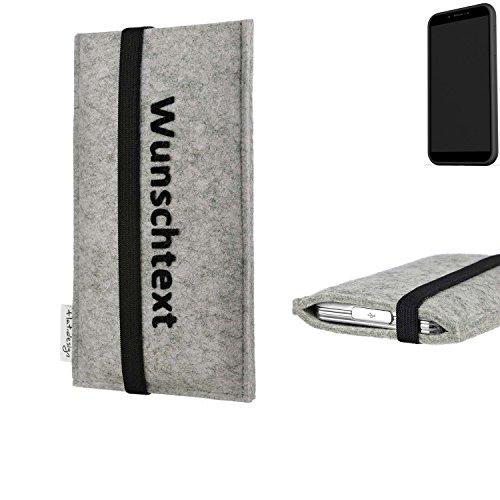 flat.design Handy Hülle Coimbra für Shift Shift6mq maßgeschneiderte Handytasche Filz Tasche Case schwarz grau