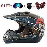 Shfmx Adult Motorcycle Off Road Helmet DOT-MX ATV Dirt Bike Motocross UTV (mit Riding Handschuhe, Goggles, Maske) Bright Black/Ghost Head,S