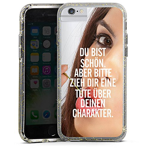 Apple iPhone 6 Bumper Hülle Bumper Case Glitzer Hülle Charakter Sprüche Sayings Bumper Case Glitzer gold