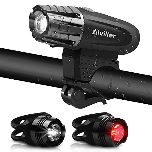 Fahrradlichter set, Alviller Fahrradlicht USB Aufladbar Fahrrad Licht LED Set Fahrradbeleuchtung fahrradlampe with Frontlicht, 2 x Rücklichter, IPX65 Wasserdicht, StVZO, 4 Licht-Modi, 2000mAh Batterie, 1 USB-Kabel für Radfahren (03 Schwarz) (Tauchen Licht Uk)