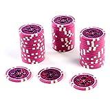 50 Poker-Chips Laser-Chips Wert 5000-12g Metallkern Poker Texas Hold`em Black Jack Roulette – pink – reflektierend