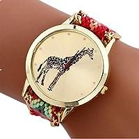 Mixe Handmade Knitted Jewelry Watch Women Ladies Tribal Elephant Watches Wedding Party Dress Decor (Giraffe-2#Pink)