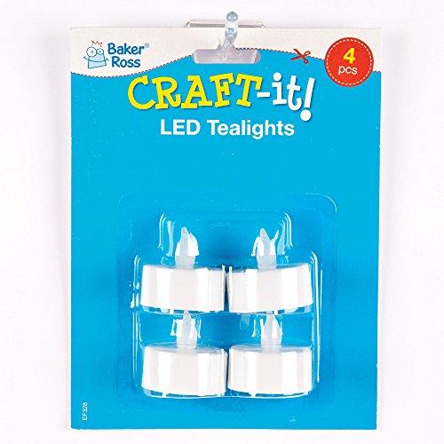 Baker Ross Velas LED seguras que los niños pueden usar en portavelas (pack de 4).