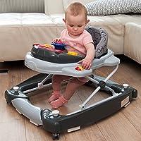 3IN1 Lauflernhilfe + Spielcenter (12 Melodien) Gehfrei Gehhilfe Baby Walker Babyschaukel (Schwarz/Grau)