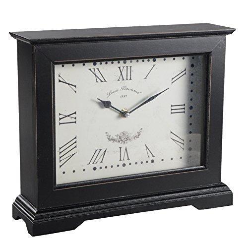 Tischuhr YAAT Kaminuhr Uhr Holz Standuhr Shabby Chic Vintage Deko Dekoration (Schwarz)