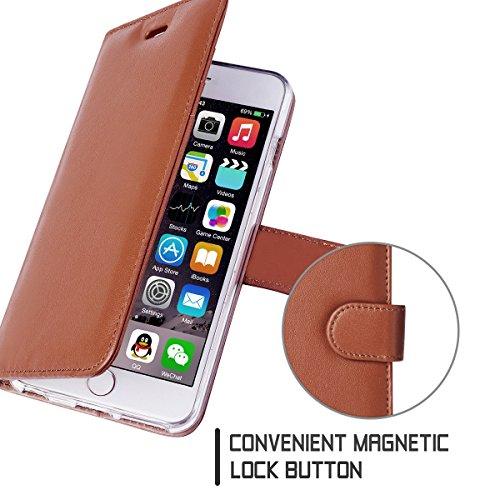 iPhone 6S Hülle,iPhone 6 Hülle,iPhone 6S Case,Fyy® [Spritze Serie] Echtes Leder Hülle für iPhone 6S/6, Mint Grün 1A-Dunkelbraun