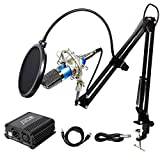 Tonor Professional Condenser Microphone XLR to 3.5mm Podcasting Studio Recording Microphone Kit PC Mics with 48V Phantom Power Supply, Boom Scissor Arm Stand with Shock Mount Blue
