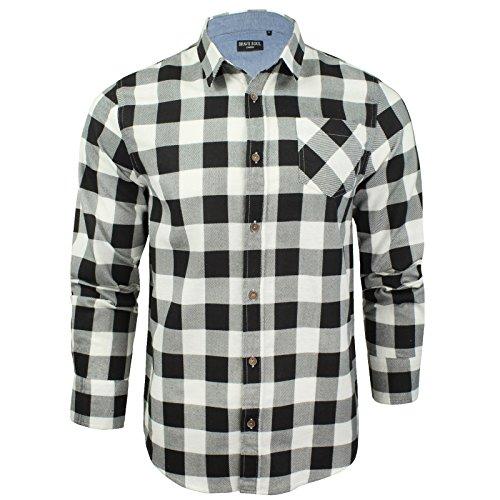 Herren Hemd von Brave Soul gebürstete Baumwolle, kariert, langärmlig (Weiß Schwarz) L (Manschette-shirt Kragen-einzel)