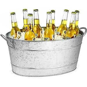 Seau Acier Galvanisé Ovale Boisson 21ltr Fête, Seau Boissons, Glacière Bouteille de Bière