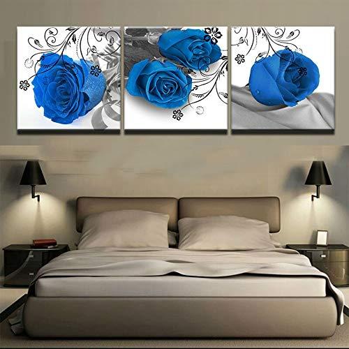 zzlfn3lv Leinwand Kunstdruck Wand 3 Stück Blühende Blaue Rose Blume Moderne Bilderrahmen Dekoration Modulares Bild Kinderzimmer Poster - Ohne Rahmen