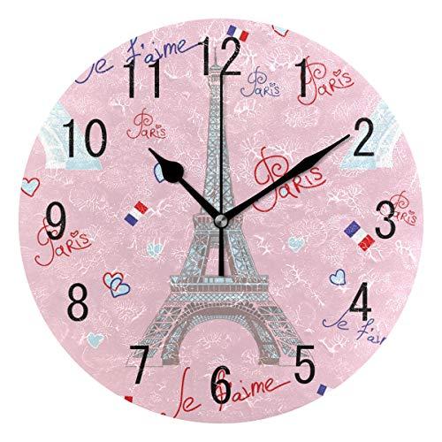 Use7 Home Decor Wanduhr, Eiffelturm, Paris, rund, Acryl, geräuschlos, für Wohnzimmer, Küche, Schlafzimmer
