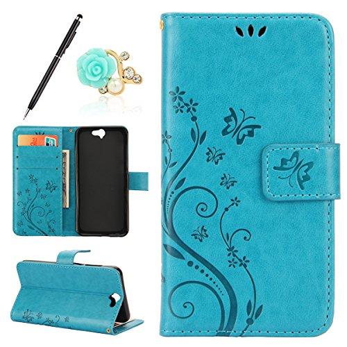 Uposao Kompatibel mit HTC One A9 Handyhülle Lederhülle Leder Tache Retro Vintage Schmetterling Muster Brieftasche Schutzhülle Flip Wallet Cover Handytasche mit Kartenfächer,Blau