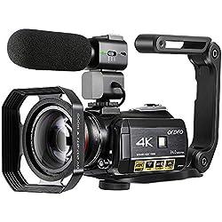 Caméscope 4K,Caméra Vidéo Caméra ORDRO AC3 Ultra HD 1080P 60FPS WiFi et Caméra de Vision Nocturne Infrarouge, Caméscope Caméra Numérique à écran Tactile de 3,1 Pouces avec Microphone