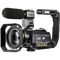 4K Camcorder, ORDRO 4K Ultra HD Camcorder Videokamera 1080P 60FPS WiFi Kamera mit IR Nachtsicht, inkl. Mikrofon, Weitwinkelobjektiv, Fernbedienung, Halter, Gegenlichtblende, 2 Akku