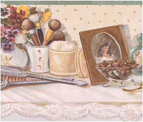 Retro Art Vintage Frauen Schminktisch - Parfüm Haarbürste Puderpinsel Kerze Rose Blumen Wallpaper...