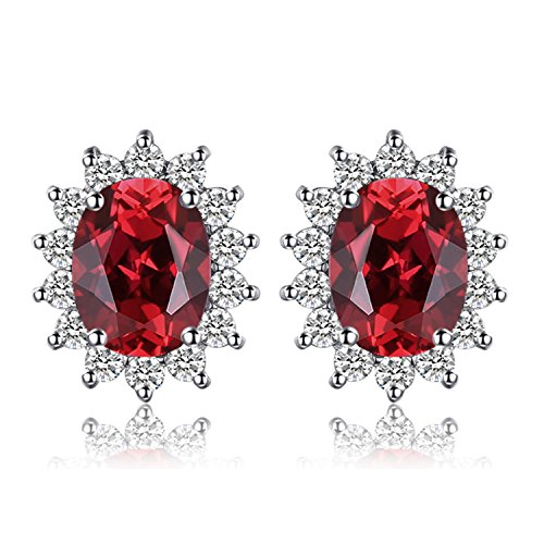 JewelryPalace Prinzessin Diana William Kate Middleton 1.3ct Natural Garnet Halo Stud Ohrringe Solid 925 Sterling Silber