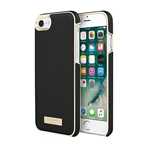 Kate Spade New York Wrap Case Schutzhülle für Apple iPhone 7 / 8 - schwarz/gold [Saffiano Design | Goldene Akzente | Hochwertige Materialien] - KSIPH-050-BLK