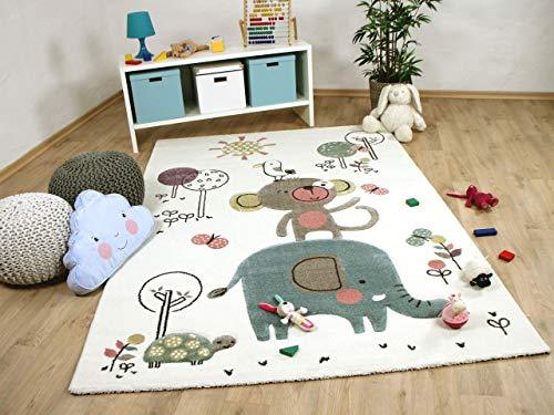 Maui Kinder Teppich Kids Lustige Tiere Creme Bunt in 3 Größen -
