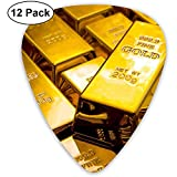 Gold Bullion Vault Guitar Picks Set 12 Médiators Ukulele, Incluant 0,46 Mm, 0,71 Mm, 0,96 Mm Guitare Acoustique Pick And Pick Box...
