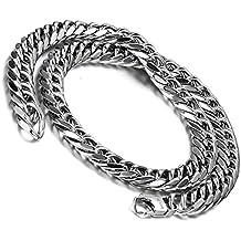 Flongo 12 mm de ancho collar de acero inoxidable pesado grande cadena eslabón de la cadena de plata para hombre mivall sobrepusiesen