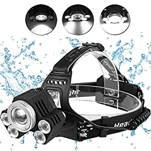 517aBbfMZFL. SS300  - LED Head Torch Headlight. 5 Super Bright T6 Bulb Headlamp. Comfortable, Lightweight and Water resistant. Ideal for Running, Dog Walking, Fishing, Camping and Reading. Rechargeable Batteries Included