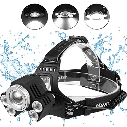 517aBbfMZFL. SS500  - LED Head Torch Headlight. 5 Super Bright T6 Bulb Headlamp. Comfortable, Lightweight and Water resistant. Ideal for…