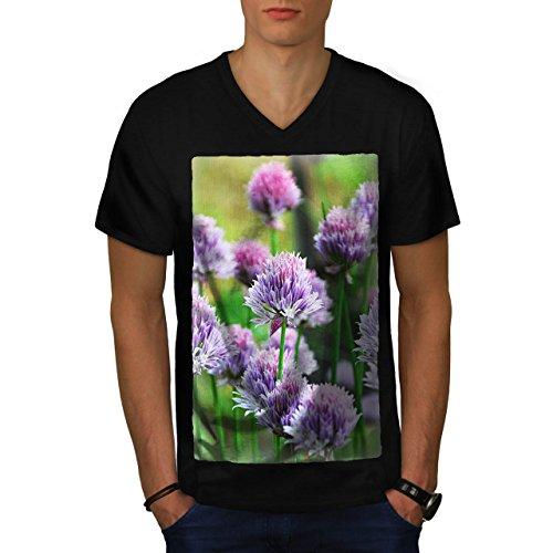 Klee Blume Wild Natur Natur Herren M V-Ausschnitt T-shirt | Wellcoda (Klee Licht-t-shirt)