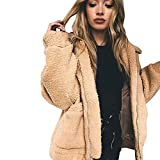 FRAUIT Mode Damen Mantel Revers Faux Für Lose Langarm Outwear Tasche Reißverschluss Winterjacke Mode Kurz Coat
