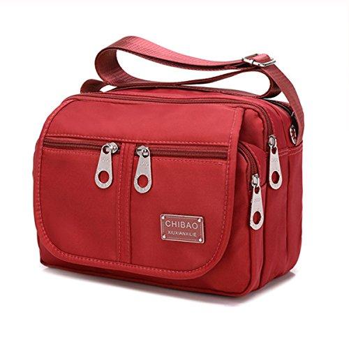 Wasserdicht Umhängetasche, Tezoo Outdoor Schultertasche aus Erstklassigem Oxford Klassic Große Kapazität Ultra Leicht Verschleißfest Tasche für Reisen Sport Ausflug Arbeit Rot