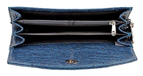 Butterflies sac à main fermeture magnétique en cuir Fauz femmes embrayage portefeuille bleu
