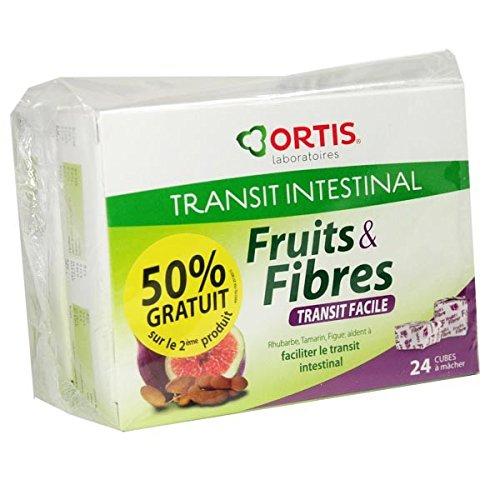 OrtisFruits & Fibres Fruchtwürfel, Obst und Ballaststoffe, für einfache Verdauung, 2 x 24 Würfel