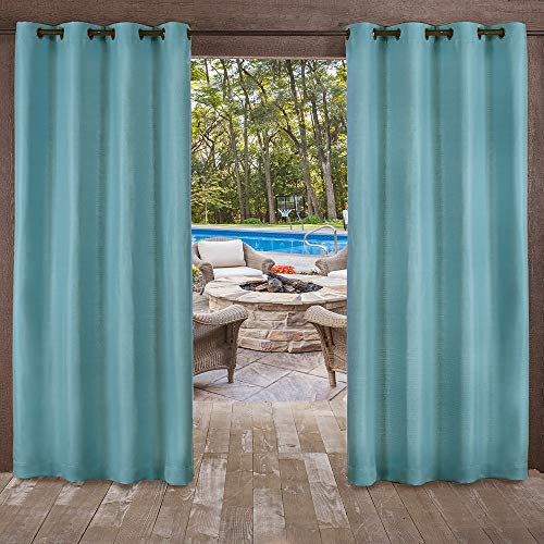 Exklusive Delano Indoor/Outdoor, mit Tülle mit Fenster Vorhang-Paar, Polyester, blaugrün, 54x108 (Vorhang-panels 108 Länge)