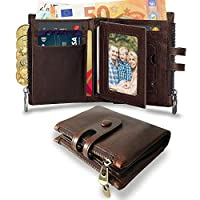 Wemk RFID Leather Wallet Double RFID Blocking with an Extra RFID/NFC Card Mens Wallet with Zip Coin Pocket and Many Card Slots Brown